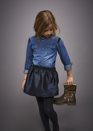 How to wear: black tights, dark brown boots, black skirt, blue denim long sleeve shirt