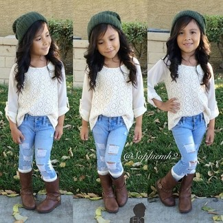 How to wear: dark green beanie, dark brown boots, light blue jeans, white lace long sleeve shirt