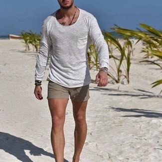 How to wear: dark brown bracelet, grey shorts, white long sleeve t-shirt