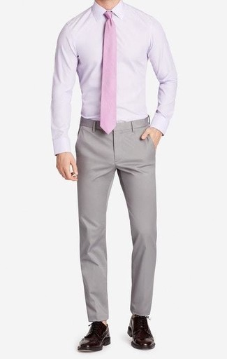 How to wear: pink tie, dark brown leather brogues, grey chinos, light violet dress shirt