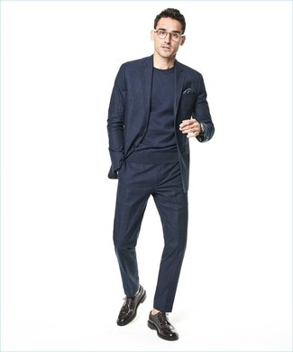 How to wear: charcoal pocket square, dark brown leather brogues, navy crew-neck sweater, navy check suit