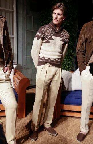 How to wear: dark brown canvas espadrilles, beige linen dress pants, brown fair isle shawl-neck sweater