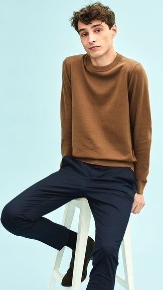 How to Wear Dark Brown Suede Chelsea Boots For Men: Why not rock a brown crew-neck sweater with navy chinos? As well as very comfortable, both pieces look awesome paired together. Finishing off with a pair of dark brown suede chelsea boots is a simple way to bring a little classiness to your outfit.