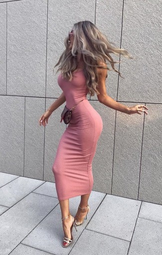 Women's Looks & Outfits: What To Wear In 2020: Prove that you do casual like no-one else in a pink bodycon dress. For a more refined spin, introduce a pair of silver leather heeled sandals to the equation.