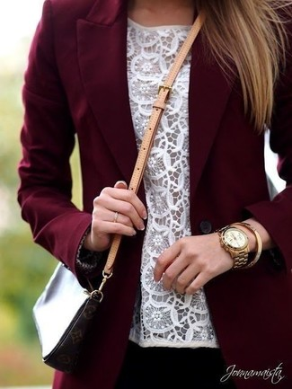 How to wear: gold watch, dark brown print leather crossbody bag, white lace sleeveless top, burgundy blazer
