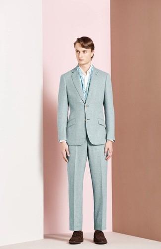 How to wear: light blue floral scarf, dark brown suede derby shoes, white long sleeve shirt, light blue wool suit