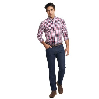 How to wear: dark brown leather belt, dark brown leather desert boots, navy jeans, white and red and navy gingham long sleeve shirt
