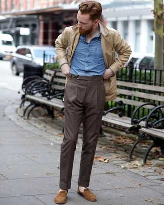 How to wear: brown suede loafers, dark brown dress pants, blue chambray long sleeve shirt, beige suede field jacket