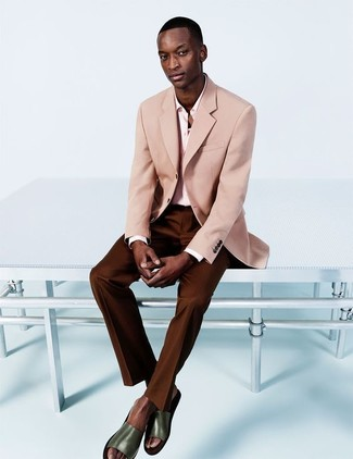 How to wear: olive leather sandals, dark brown dress pants, pink dress shirt, pink blazer