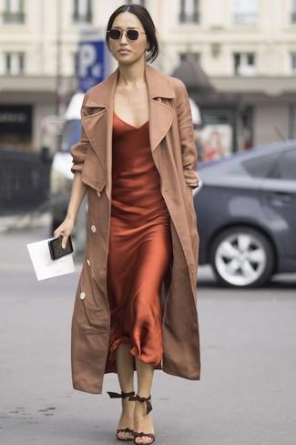 How to wear: black sunglasses, dark brown suede heeled sandals, orange silk cami dress, tan trenchcoat