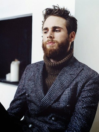 How to wear: dark brown knit turtleneck, navy check wool double breasted blazer