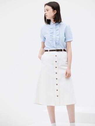 How to wear: dark brown leather belt, white button skirt, light blue short sleeve button down shirt