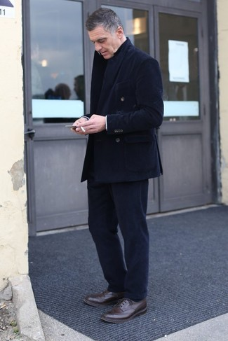 How to wear: dark brown leather brogues, black corduroy dress pants, black corduroy double breasted blazer