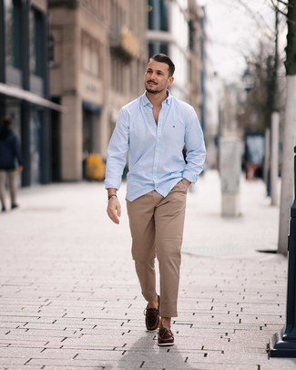 How to wear: dark brown leather driving shoes, khaki chinos, light blue long sleeve shirt