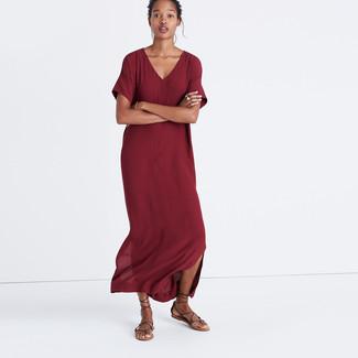 How to wear: dark brown leather gladiator sandals, burgundy maxi dress