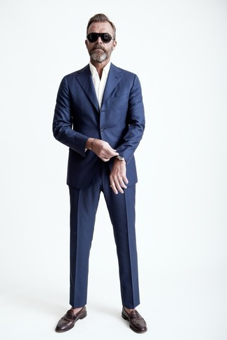How to wear: dark brown leather loafers, white long sleeve shirt, navy suit