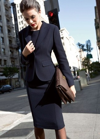 How to wear: dark brown leather satchel bag, black sheath dress, black blazer