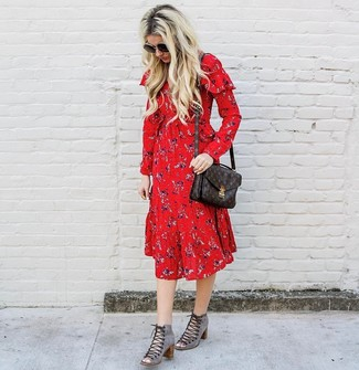 How to wear: dark brown print leather satchel bag, grey cutout suede lace-up ankle boots, red floral midi dress
