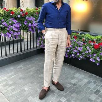 How to wear: silver watch, dark brown suede loafers, beige dress pants, navy long sleeve shirt