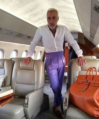 How to wear: orange leather tote bag, dark brown suede loafers, violet dress pants, white dress shirt