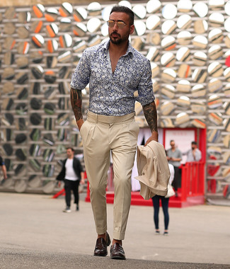 How to wear: gold sunglasses, dark brown leather loafers, white and navy floral long sleeve shirt, beige suit