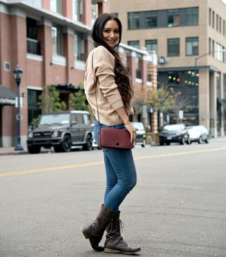How to wear: burgundy leather crossbody bag, dark brown leather mid-calf boots, blue skinny jeans, tan knit oversized sweater