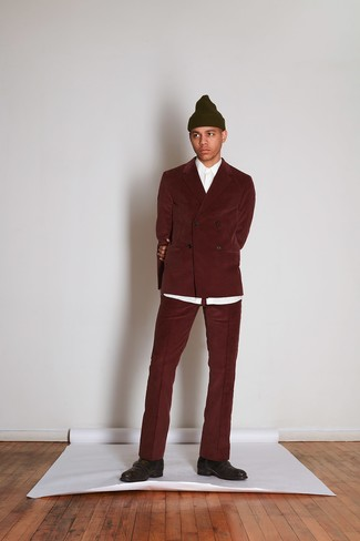 How to wear: olive beanie, dark brown leather monks, white dress shirt, burgundy corduroy suit