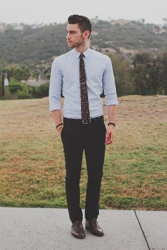 How to wear: black floral tie, dark brown leather oxford shoes, black dress pants, light blue dress shirt