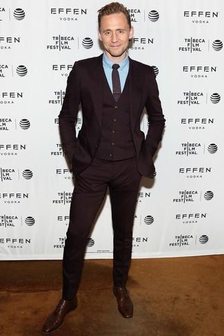How to wear: burgundy print tie, dark brown leather oxford shoes, light blue dress shirt, burgundy three piece suit