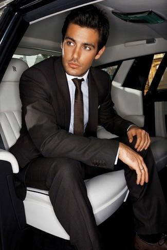 How to wear: dark brown tie, dark brown leather oxford shoes, white dress shirt, dark brown suit
