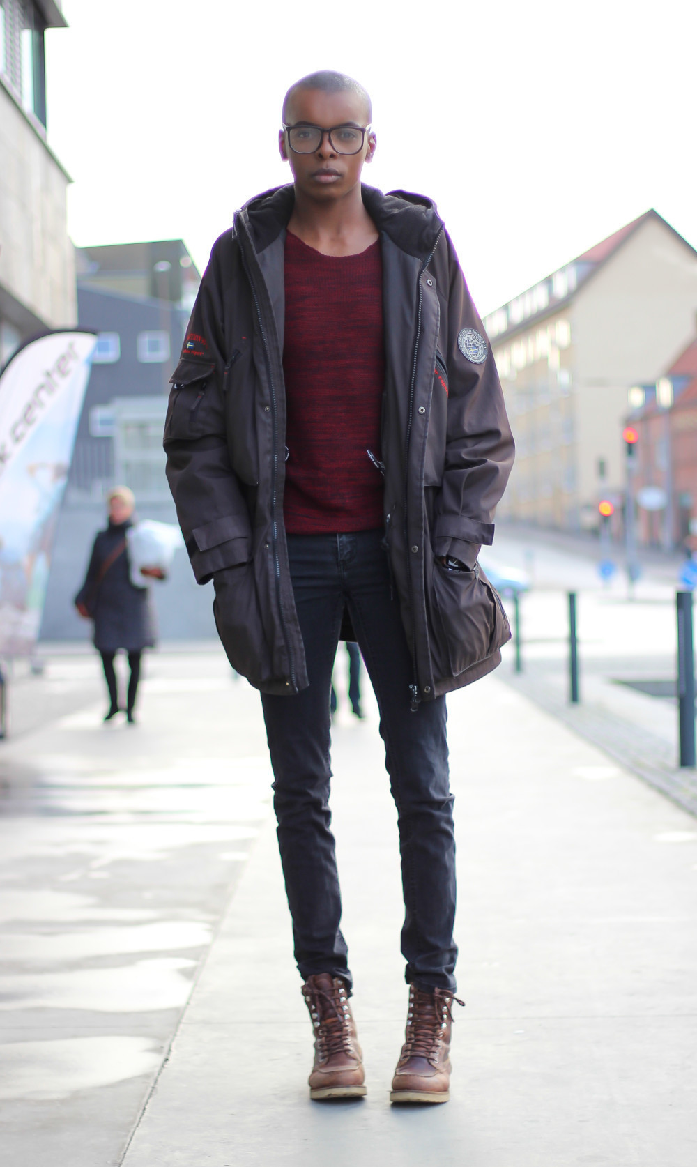 How to dark wear brown skinny jeans photo