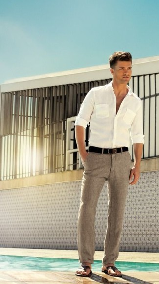 fcf3e308f8 How To Wear Grey Linen Dress Pants With a White Long Sleeve Shirt ...