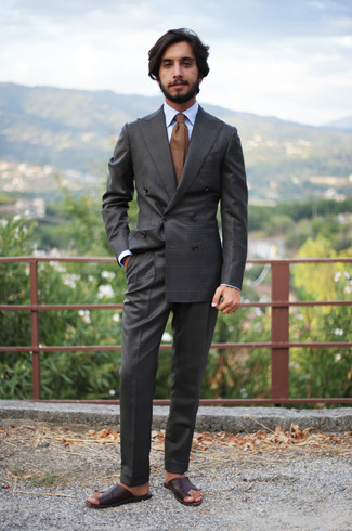 How to wear: brown tie, dark brown leather sandals, light blue dress shirt, charcoal plaid suit