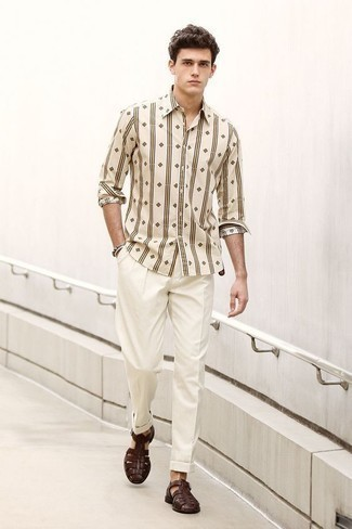 How to Wear Dark Brown Leather Sandals For Men: This is hard proof that a beige print long sleeve shirt and white dress pants look amazing when teamed together in an elegant ensemble for a modern man. To introduce a playful vibe to your outfit, complement your ensemble with dark brown leather sandals.