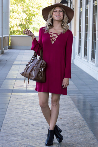 How to wear: brown wool hat, dark brown leather satchel bag, black leather ankle boots, burgundy casual dress