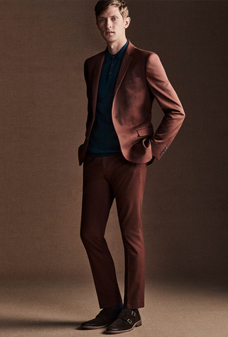 How to wear: dark brown suede double monks, teal polo, tobacco suit