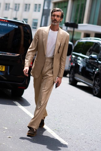 How to wear: dark brown suede loafers, white crew-neck t-shirt, tan suit