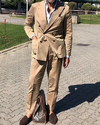 How to wear: dark brown suede loafers, white dress shirt, tan suit