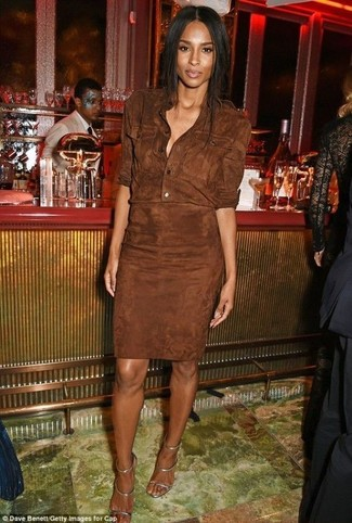 How to wear: dark brown suede shirtdress, silver leather heeled sandals