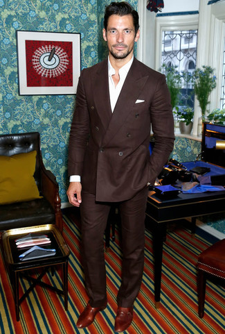 David Gandy wearing Dark Brown Suit, White Long Sleeve Shirt, Brown Leather Double Monks, White Pocket Square