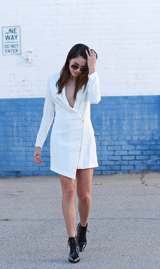 How to wear: dark brown sunglasses, black leather lace-up ankle boots, white tuxedo dress