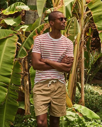 How to wear: dark brown sunglasses, tan shorts, white and red horizontal striped crew-neck t-shirt
