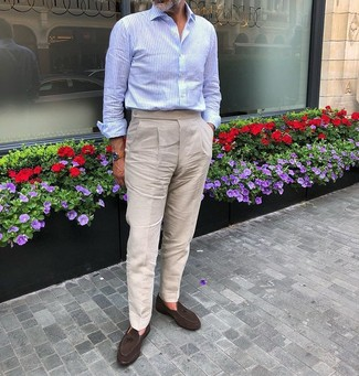 How to Wear Beige Linen Dress Pants For Men: For a look that's elegant and envy-worthy, try pairing a light blue long sleeve shirt with beige linen dress pants. We love how a pair of dark brown suede tassel loafers makes this look whole.