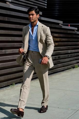 How to wear: dark brown leather watch, dark brown leather tassel loafers, light blue long sleeve shirt, beige linen suit
