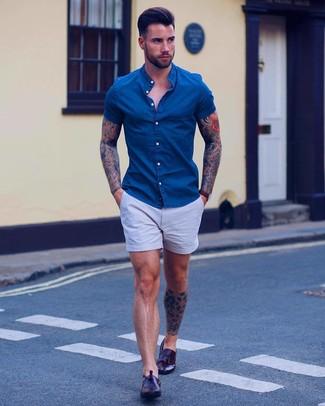 Men's Dark Brown Leather Watch, Dark Brown Leather Tassel Loafers, Light Blue Shorts, Blue Denim Short Sleeve Shirt