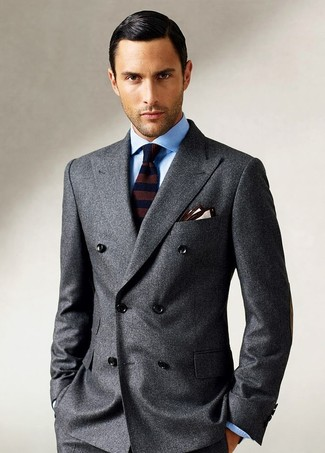 How to wear: beige pocket square, dark brown horizontal striped wool tie, light blue dress shirt, charcoal wool double breasted blazer