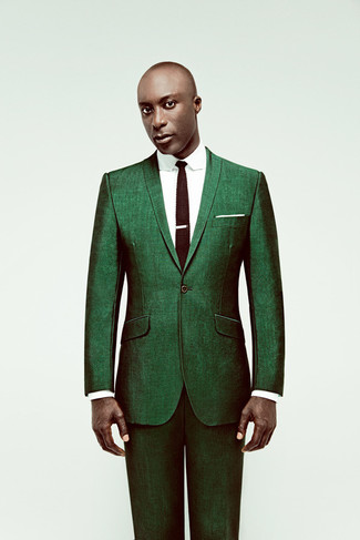 How to wear: white pocket square, dark brown knit tie, white dress shirt, green suit