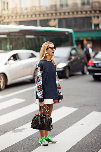 How to wear: dark brown sunglasses, dark brown leather tote bag, brown athletic shoes, white and red and navy plaid casual dress