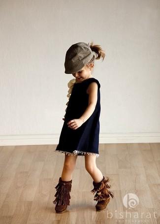 How to wear: dark brown uggs, navy dress