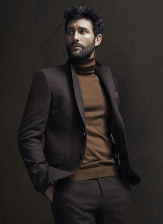How to wear: dark brown wool suit, brown turtleneck, brown print pocket square